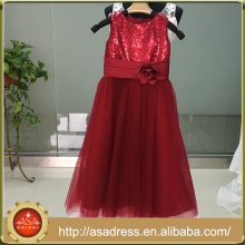 ASAM-12 Lovely Sequined Tulle Girl vestidos con flores hechas a mano Zipper Back vestido de niña de flores para la boda