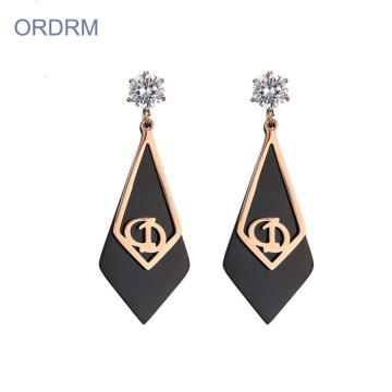 Kolczyki Fashion Rose Gold And Black Zircon Stone