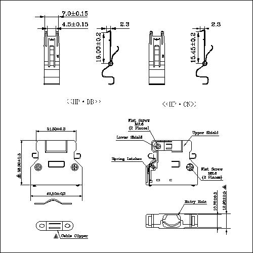 1.27mm Series Shielded Backshell Kits 36P Straight Exit With Spring Latchs HPMCS02-360S