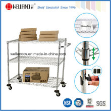 3 Tiers Cilindro metálico plateado Metal Unility Cart