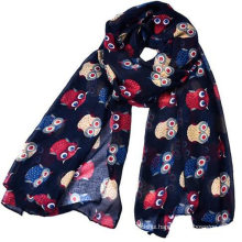 whosale 180*90 women latest new design lovely cat printed voile cotton scarf long animal scarf