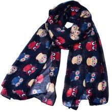 Whosale 180 * 90 mulheres mais recente novo design lindo gato impresso lenço de algodão voile longo animal cachecol