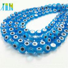 fabrication de bijoux aigue-marine plat rond perles de verre oeil mauvais