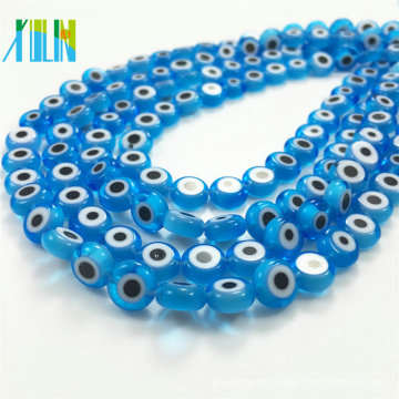 jewelry making aquamarine flat round evil eye glass beads