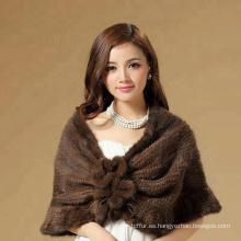 Diseño conciso y muy elegante chal de piel de mapache