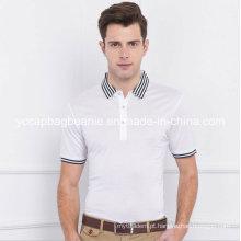 T-shirt do polo do algodão do algodão dos homens, camisa do polo T