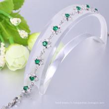 bracelet en laiton vert zircon chic