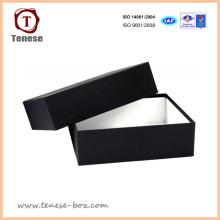 Caja de empaquetado del regalo del papel negro de gama alta de encargo para el zapato, el vestido, la joyería, el alimento