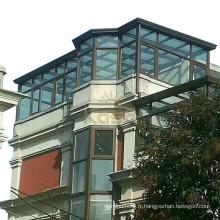 Verrière en aluminium pour véranda à toit en verre coulissant fixé au mur