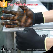 SRSAFETY 15 калибровочных трикотажных нейлоновых черных нитриловых точек на пальмовых желтых перчатках