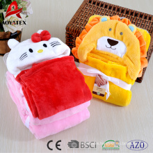 100% polyester soft cute 3D animal head plush fleece hooded baby blanket