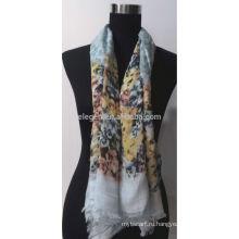 100% хлопок шарф с цветочным принтом