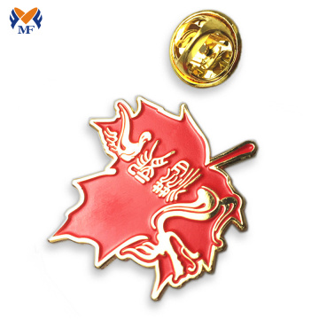 Aangepast zacht email rood Maple Leaf Pin Badge