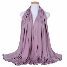 Тенденции элегантный сплошной Цвет розовый с принтом однотонные длинные мусульманские женщины Джерси шарф с diff цвета