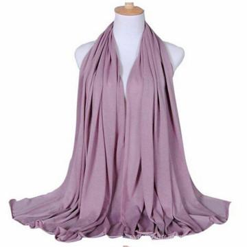 Tendances élégant couleur unie rose impression plaine longue musulman femmes Jersey écharpe-avec des couleurs Diff