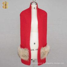 100% Merino Wolle oder 30% Wolle Big Pocket Wolle Strick Infinity Schal Mit Real Waschbär FUr
