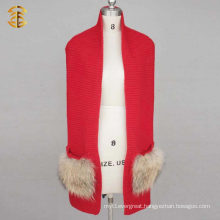 100% Merino Wool Or 30% Wool Big Pocket Wool Knitted Infinity Scarf With Real Raccoon FUr