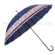 16 Ribs Printed Women's Hand Open Straight Umbrella