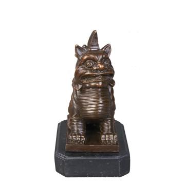 Animal Bronze Sculpture Monstre Nian Décoration En Laiton Statue Tpy-638