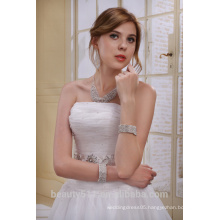A-Line Strapless Long Trailing With Beaded Sash wedding dress AS01202