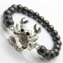 Hematite 8MM perles rondes Stretch Gemstone Bracelet avec morceau de serpent en alliage de Diamante