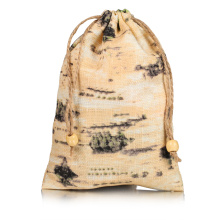 Mountain green printing hemp drawstring bag wholesale