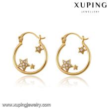 Moda elegante CZ Star 18k pendientes de joyería de imitación de oro plateado -91532