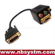 DVI macho a VGA hembra + cable adaptador 3RCA hembra
