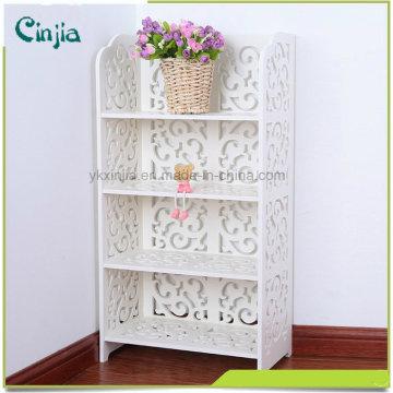 Weiß Vier Ebenen Kleine Buch Regal, ähnlich wie das Material aus Holz Kunststoff Regal
