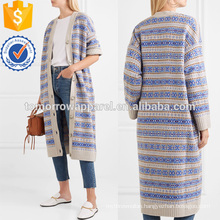 Crepe-paneled Jacquard Coat Manufacture Wholesale Fashion Women Apparel (TA3037C)