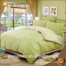 70 / 90GSM poliéster cepillado dormitorio de color sólido de tela establece tamaño king