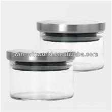 Mini-bocal en verre hermétique avec couvercle en métal
