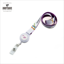 White Heat-Transfer Printed Lanyard with Retractrable Badge Holder