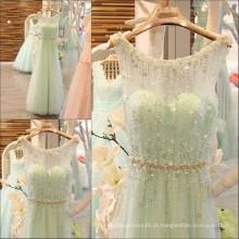 Luxo Beading Handmade Sparkling Vestidos de noite Long Elegant Crystal Sequin Sash Robe Longue Femme Soiree 2016 ML160