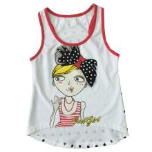 Menina bonita moda malha colete em crianças menina t-shirt com camisola (sv-029)