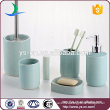 Venta al por mayor Baño azul cerámica 6 piezas de baño conjuntos