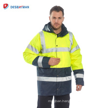 High Quality Custom Logo Print Safety Rain Jacket Reflective Green Hi-Vis Raincoat Waterproof Jacket Hood Warm Top