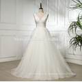 2018 Fabrik Preis Großhandel Spitze Appliques tiefem V-Ausschnitt ärmelloses Suzhou Hochzeitskleid