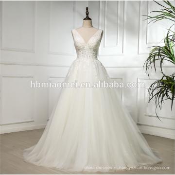 2018 цена завода оптовая кружева аппликация глубокий V шеи без рукавов Сучжоу свадебное платье