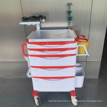 Chariot de secours réglable d'étagère de défibrillateur d'hôpital