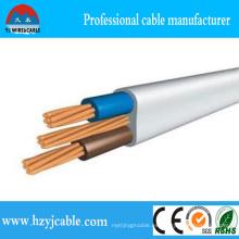 2X2.5mm Cobre / latón PVC aislados Electric Twin plano y cable de tierra