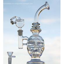 Tubos de agua de huevo Bong de vidrio transparente Vaso de calavera Dab Rig Bongs Reciclador Cuello doblado Oil Rrigs Junta de 14.5 mm