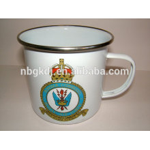 china supplier custom logo white color custom enamel mug