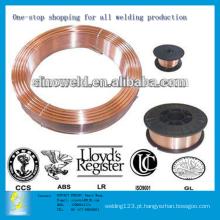 Revestimento de gás de CO2 de 0,6 mm a 1,6 mm, revestido de cobre, com fio de soldagem Solid Mig, ER70S-6