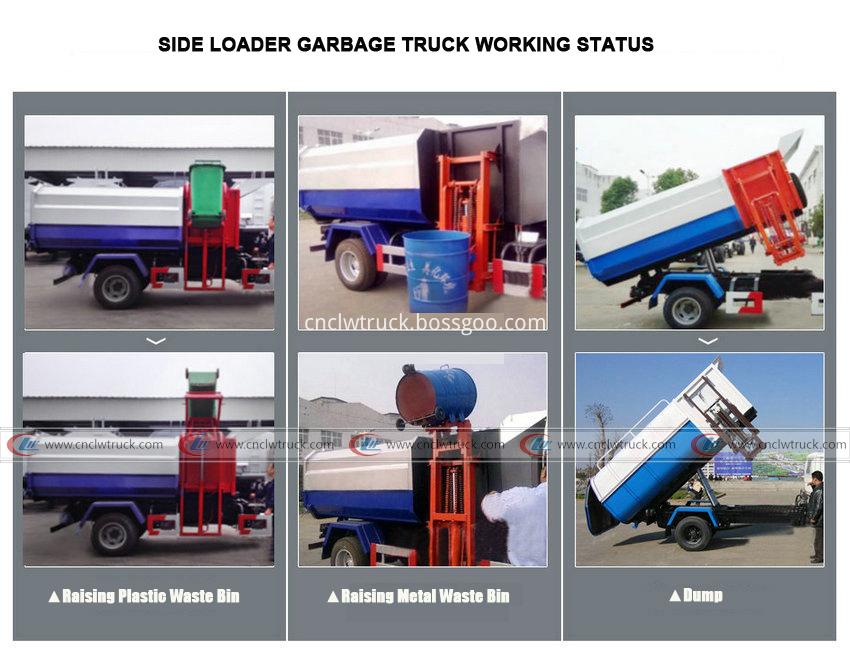 side loader garbage truck working status