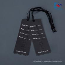 Étiquette professionnelle de coup de papier de vêtements de conception faite sur commande pour des jeans avec le ruban
