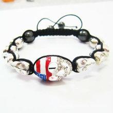 100% Excellent Handmade Shamballa Skull Bracelets UK Flag Shamballa Bracelets BR18