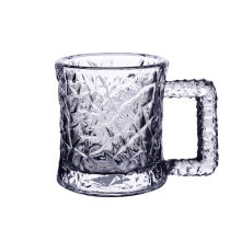 Hammer effect glass mug cup with handle