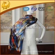 Digital full Printing long fringe 100% Pure Silk Shawl
