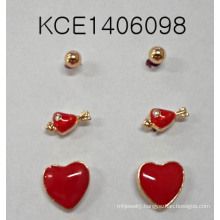 Lovely Red Heart-Shaped Set Earrings